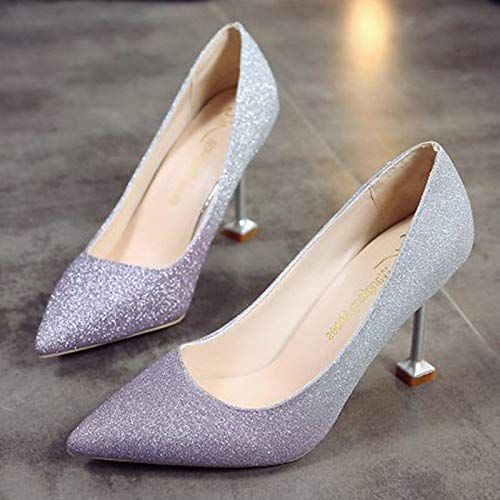 Purple Black Heels Pointed Fall Toe Polyurethane ZHZNVX Silver Pump Heel Shoes Stiletto PU Women's Basic Purple px0qwng7Z0