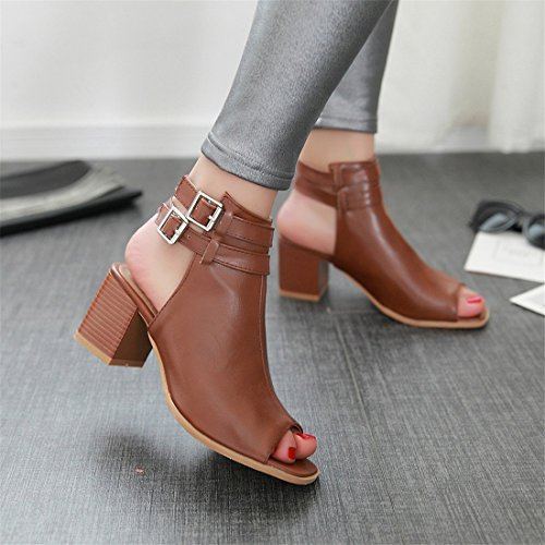 with Buckle Summer Brown Heels Slingback Pumps Heel Block Toe Middle YE Sandals Women Peep ZanpqqAP