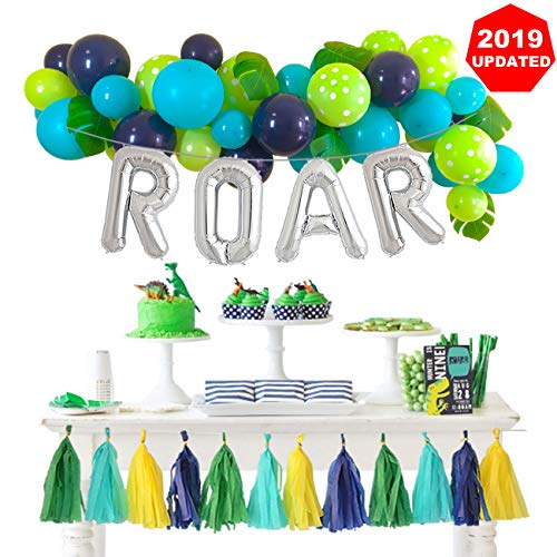 T Rex Birthday (Dinosaur Party Decorations Balloons Garland Kit with Silver ROAR Foil Balloon and Cute Jungle Theme Tassels for Boys 1 2 3 4 Birthday Party Supplies Baby Shower Backdrop)