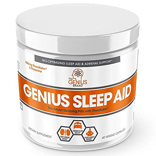 Genius Sleep AID - Smart Sleeping Pills & Adrenal Fatigue Supplement, Natural Stress, Anxiety & Insomnia Relief - Relaxation Enhancer and Mood Support w/Inositol, L-Theanine & Glycine - 40 Capsules (Best Otc For Sleep)