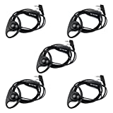 Retevis 2 Pin D Shape Headset Walkie Talkies Earpiece Headset with Mic PTT for Kenwood 2 Way Radio Baofeng 888s UV5R Retevis H-777 RT-5R Two Way Radios (5 Pack)