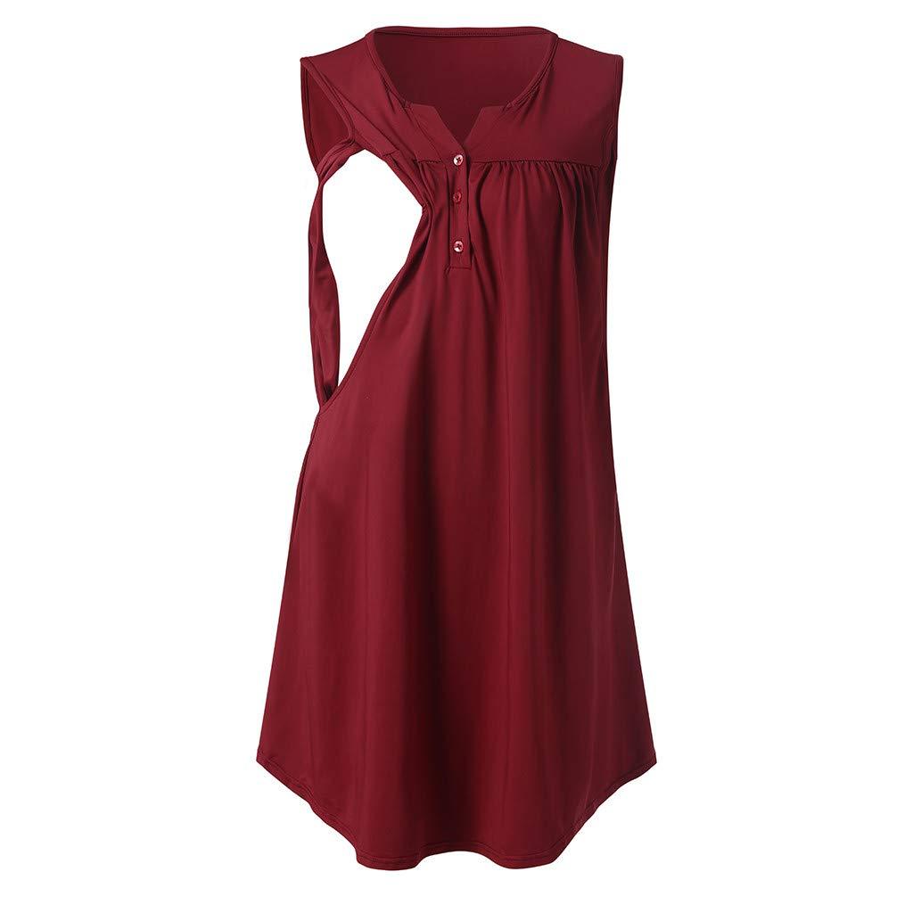 Dsood Nursing T-Shirts for Women,Women's Pleated Nursing Tank Tops Comfy Breastfeeding Shirts,Petite,Dark Gray,XL