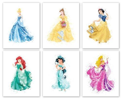 "Disney Princess Prints - Set of Six Photos (8"" x10"") Unframed - Cinderella, Belle, Snow White, Ariel. Jasmine and Sleeping Beauty"