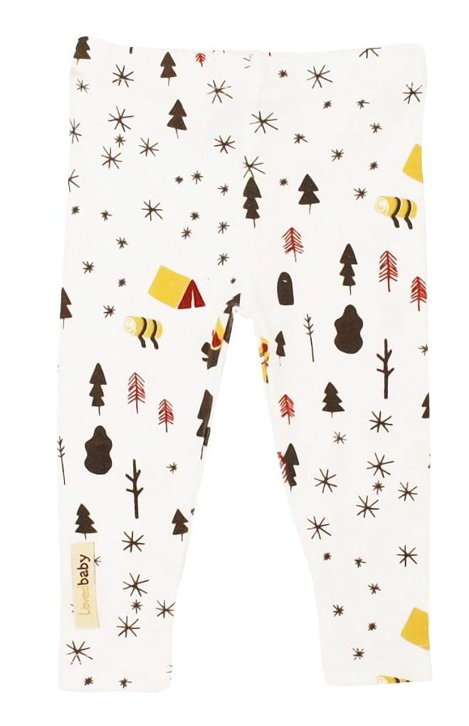 L'ovedbaby Unisex-Baby Organic Cotton Leggings (3-6 Months, White Camp)