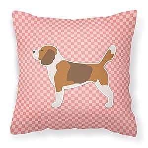 "Caroline tesoros del bb3610pw1414tablero de ajedrez rosa Beagle tela almohada decorativa, 14""x 14"", multicolor"