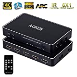 4K HDMI Switch 6X1 with IR Remote Control,AOKEN 6 Port HDMI Switch with ARC Audio Extractor,HDMI Switcher 6 in 1 Out with Optical SPDIF & 3.5mm Audio Out for PS4/ Xbox/Blu-ray DVD/Roku