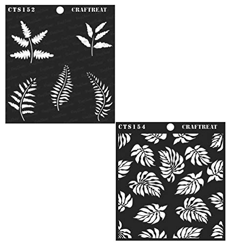 Craftreat Stencil - Ferns & Tropical Leaves (2 pcs) | Reusable Painting Template for Journal, Home Decor, Crafting, DIY Albums, Scrapbook and Printing on Paper, Floor, Wall, Tile, Fabric, Wood 6