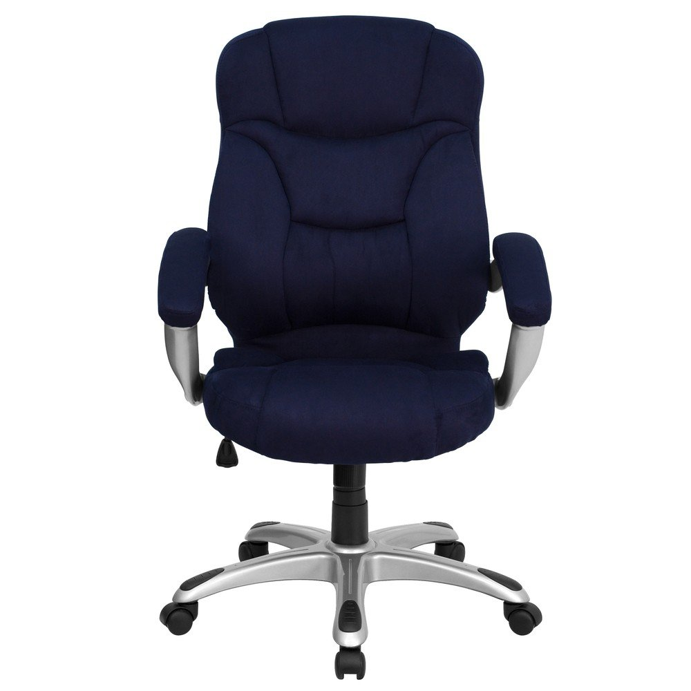 amazoncom flash furniture high back navy blue microfiber executive swivel chair with arms kitchen u0026 dining