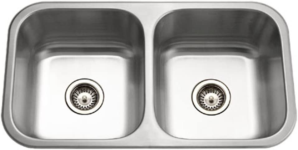 Houzer MD-3109-1 Medallion Classic Series Undermount Stainless Steel 50 50 Double Bowl Kitchen Sink