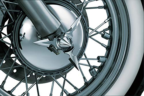 Kuryakyn 1234 Motorcycle Accent Accessory: Spun Blade Spinning Axle Caps for 2002-19 Harley-Davidson Motorcycles, Pointed Center Cap, Chrome, 1 Pair