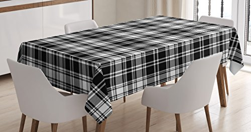 Abstract Decor Tablecloth by Ambesonne, British Tartan Pattern with Vertical and Horizontal Symmetric Stripes Image, Dining Room Kitchen Rectangular Table Cover, 60 W X 84 L Inches, Black White