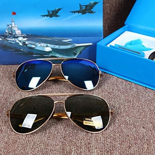 HQCC Or NOIR Miroir Hommes Conduite Cadre Lunettes de Soleil polarisées lentille Soleil Bleu Affaires de de Pilote Lunettes ZUZwrq