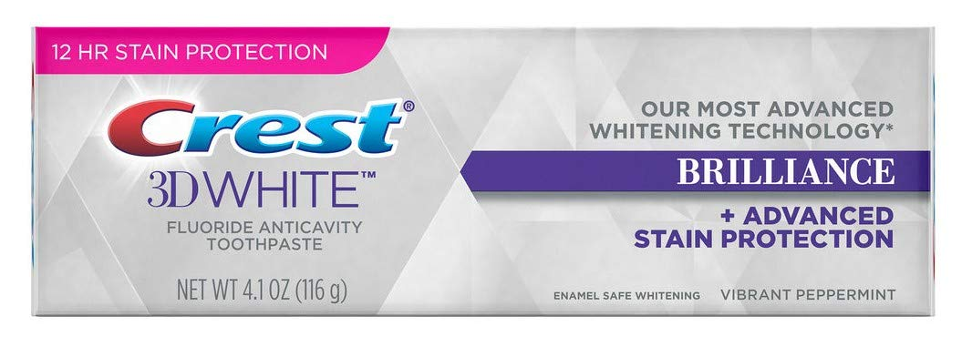 Crest 3D White Brilliance Toothpaste, Vibrant Peppermint 4.1 oz (Pack of 6)