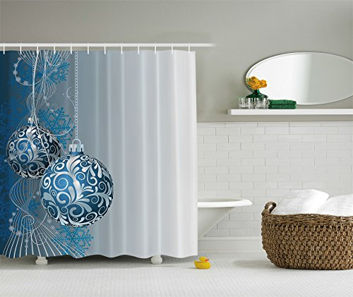 Christmas Holiday Designer's Collection Digital Graphic Print Blue Silver Balls Shower Curtain Non Vinyl Waterproof Resistant w/ hooks - Simple Gift Awaits for you! (Christmas Designer Ornaments)