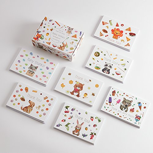 56 Thank You Cards - 7 Adorable & Cute ANIMAL Note Cards Designs with Matching Box & 58 ENVELOPES, Perfect for Your Baby Shower or Kid's Birthday Party!