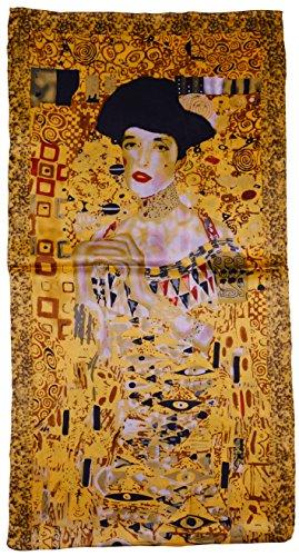 Art Silk Scarf - YSSP, Gustav Klimt's-Portrait of Adele Bloch-Bauer I, Van Gogh and Claude Monets Paintings, Fashion Silk Scarf Premium Shawl Wrap Art