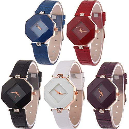 Yunanwa 5 Pack Women Ladies Watches Quartz Wristwatch Leather/Mesh Brand Wholesale Prism Watch (Style 1:5pcs Leather Brand) -