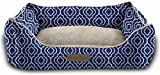 Pet Trendy Modern Chic Trellis Thick Bolstered-Microfiber Machine-Washable Pet Bed for Dog and Cat, 17-Inch x 22-Inch x 7-Inch, Navy Blue