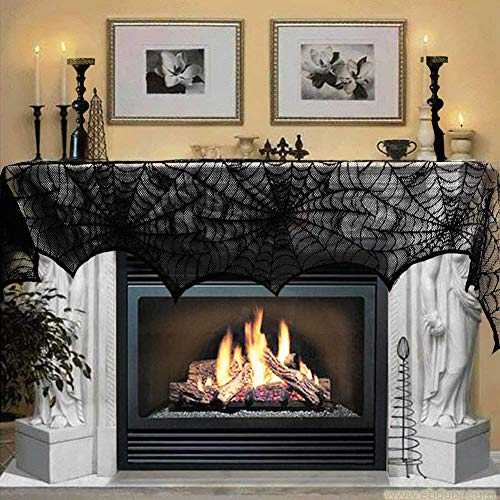 Halloween Decoration Black Lace Spiderweb Fireplace Mantle Scarf Cover Festive Party Supplies Set for Fireplace Window Door Frame Decoration 18 x 96 inch -