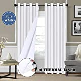 faux silk windows panel - White Blackout Curtains (2 Layers) - Elegant Rich Faux Silk Window Panels with White Liner Thermal Insulated Solid Grommet Curtain Drapes, Privacy Assured (Set of 2, 52 x 84 Inch)