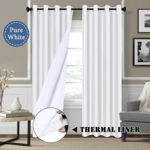 Silk Curtain (White Blackout Curtains (2 Layers) - Elegant Rich Faux Silk Window Panels with White Liner Thermal Insulated Solid Grommet Curtain Drapes, Privacy Assured (Set of 2, 52 x 84 Inch))