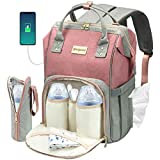 Cosyland Diaper Bag Backpack for Mom Travel Backpack Nappy Bags Large Capacity Maternity Bag with USB Charge Port Stroller Strap Wide Shoulder Strap Insulated Pockets Baby Shower Gift (Pink)