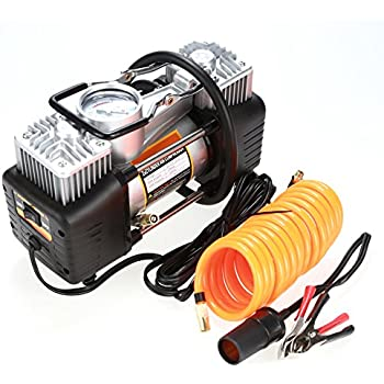 Sailnovo 12V DC Portable Air Compressor, Heavy Duty Auto Car Tire Inflator, Classic Mini Double Cylinder, Car Tyre Compressor Pump with Adapter to 150 PSI ...