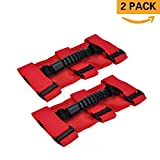 Automotive : Grab Handles for Jeep Wrangler Roll Bars (2 Pack),Easy-to-Fit 3 Straps Design for 1987-2017 Models,Wrangler Accessories (RED)