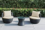 Ohana 3-Piece Outdoor Patio Furniture Conversation Set, Black Wicker with Beige Cushions – No Assembly For Sale