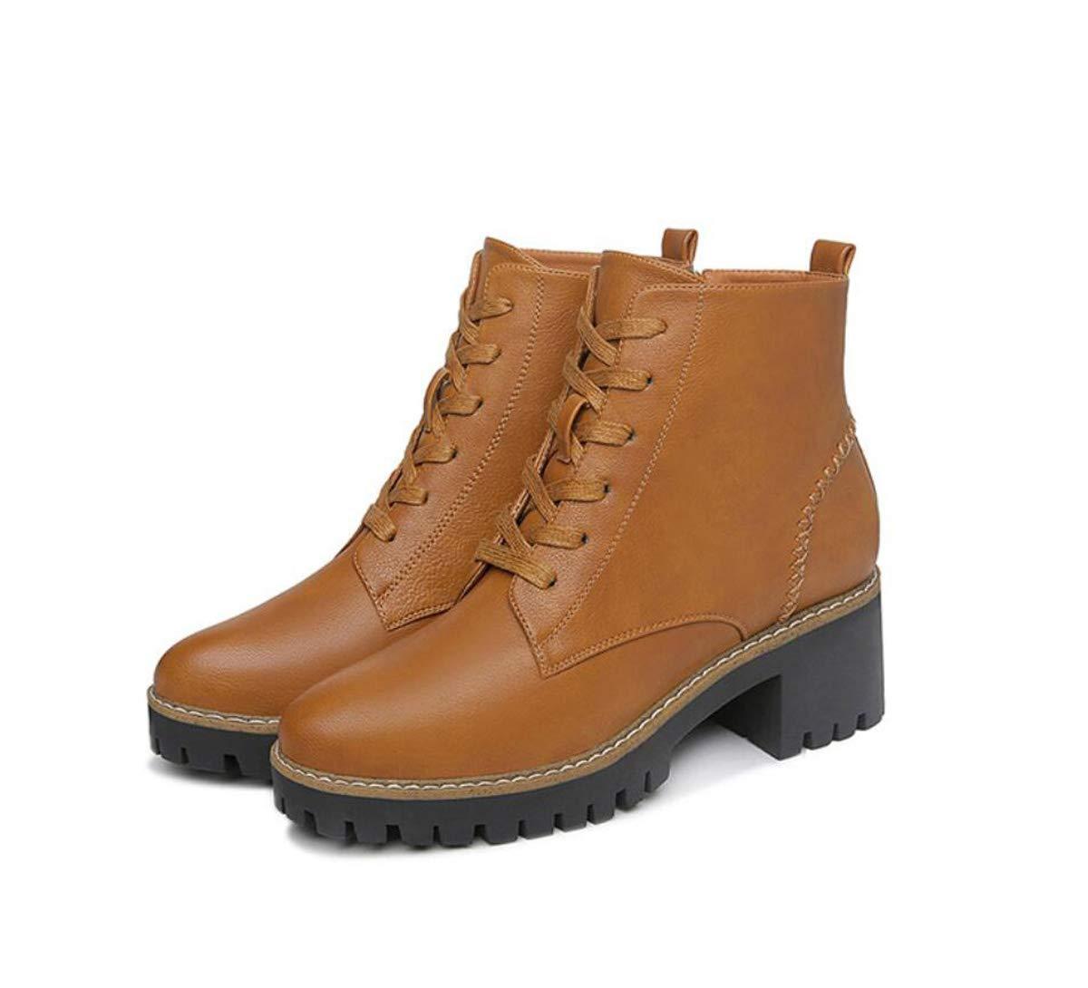 A Booties Women Fall Winter Block Heel shoes Zipper Fake Lace Up Martin Boots (Black Brown)