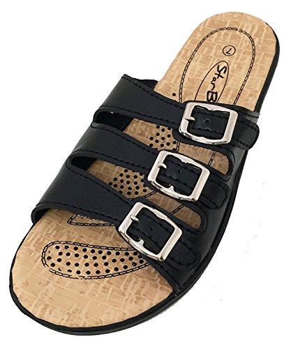 S-2603 Women's Slides Sandals Triple Adjustable Straps Buckle Comfort Slip On Wedge Flip Flops Casual Shoes (9 B(M) US, Black) ()
