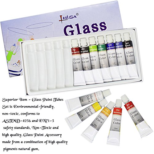 Lasten12 Colors Permanent Glass Paint Kit Come with Palette & Paint Brush, Lacquer Based for Superior Stained Glass Art Paint, Non-toxic for Glass Art Paint and Stained Gallery Glass Windows
