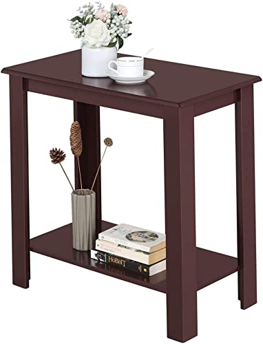 Topeakmart Wooden Chair Side End Table with Lower Shelf for Small Spaces, Espresso