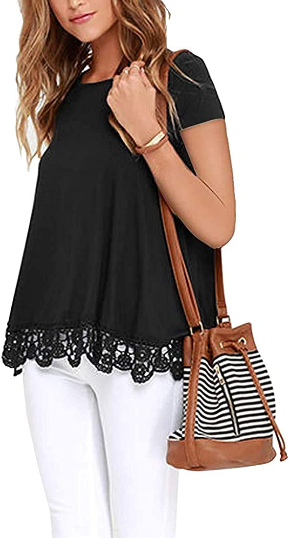 Akihoo Womens Tops Casual Short Sleeve Lace Trim Round Neck A-Line Tunic Summer Blouse Shirts