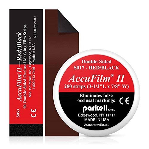 Accufilm II Double-Sided Occlusal Marking Film Pre-Cut Strip, 3-1/2'' L x 7/8'' W, Red/Black (280 Pre-Cut Double-Sided Strips) by Parkell