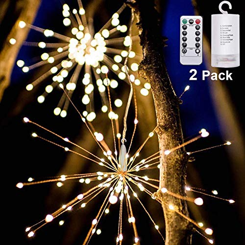 OSORD 200 LED 2 Pack Starburst Light, 【New Version】 Fairy String Light with Remote Control, 8 Modes Battery Operated Hanging Starburst Lights,Decorative String Lights for Christmas,Holiday,Garden