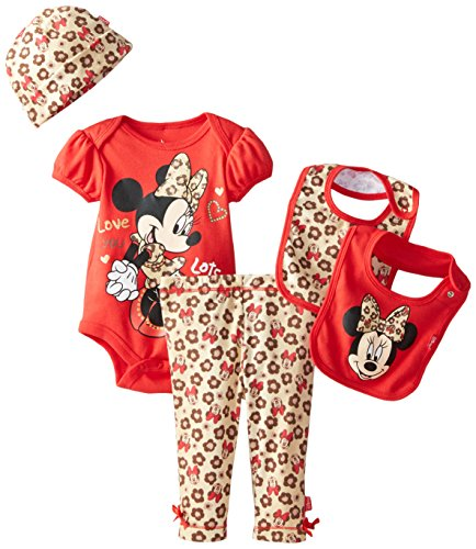 Disney Baby Girls' Minnie Mouse 5 Piece Set Animal Theme, Red, 0-6 Months