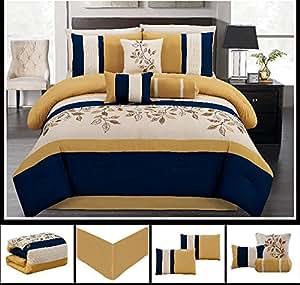 Amazon Com 7 Piece Luxury Yellow Navy Blue Beige Leaf