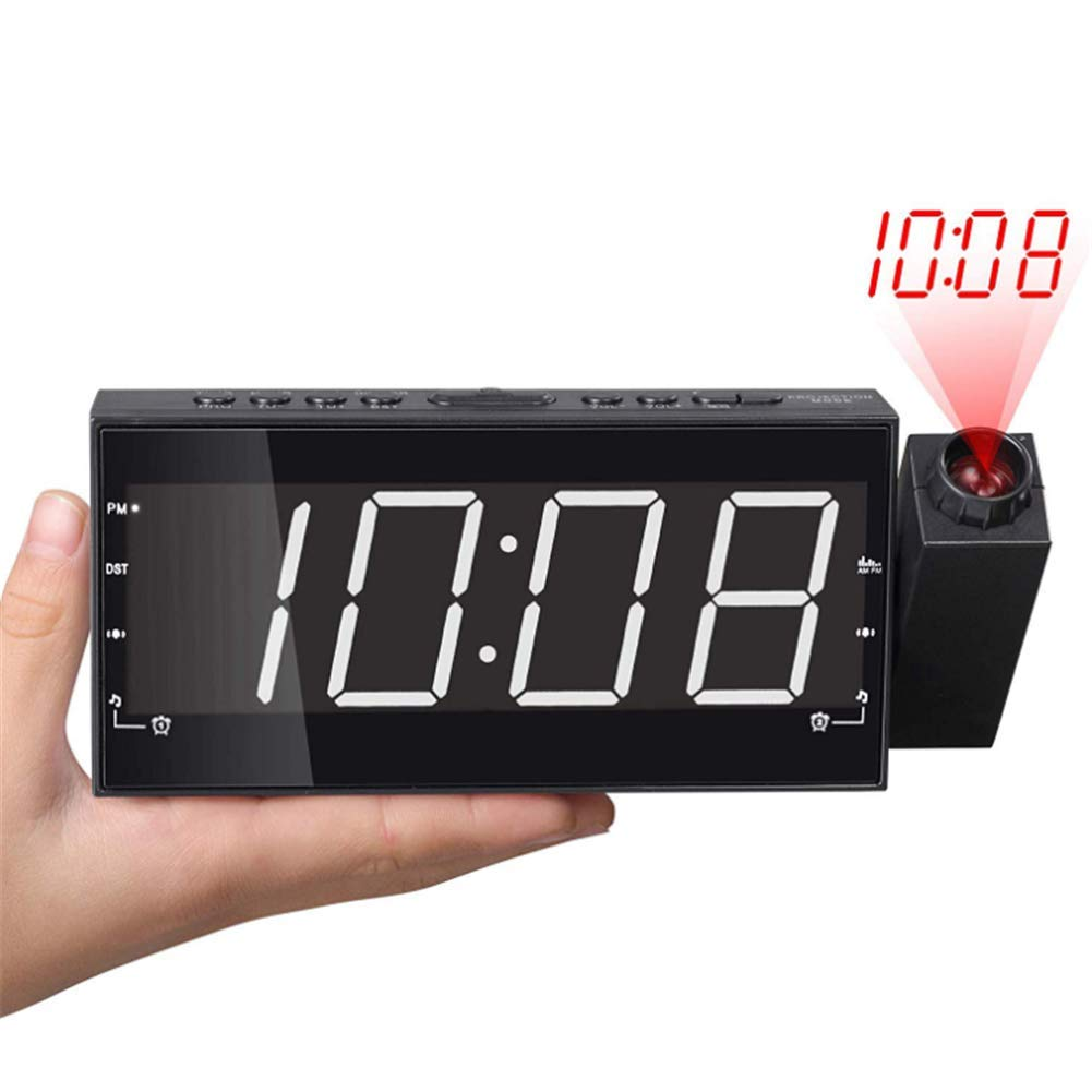 LLVV 7 inch Projection Alarm Clock AM FM Radio, 3 Dimmer, Dual Alarm, Projection Clocks for Bedrooms, Ceiling, Kitchen, Wall, Travel, Home,White by LLVV
