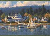 Village on The Shore Marina Sailboats Berth Nautical Wallpaper Border Retro Design, Roll 15' x 7''
