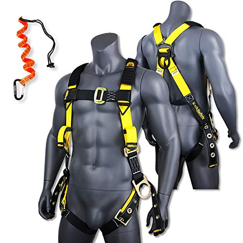 - KwikSafety (Charlotte, NC) SUPERCELL Safety Harness | ANSI OSHA Full Body Personal Fall Protection |1 Dorsal Ring 2 Side D-Rings Grommet Tongue Buckle Straps Tool Lanyard Construction Tower Roofing