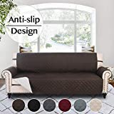 RHF Anti-Slip Sofa Cover for 3 Cushion Leather Sofa, Slip-Resistant Furniture Protector(Couch Cover for Dogs)-Features Anti-Slip Pad and Adjustable Elastic Strap (Sofa: Chocolate)