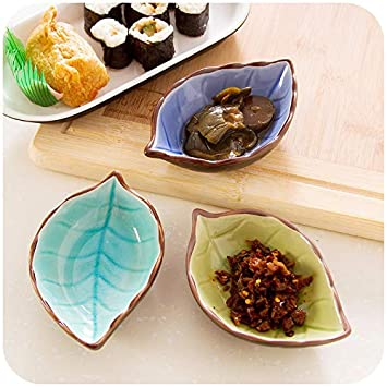 Amazon.com: DeemoShop Multifunctional handcraft leaves ceramic plates Sushi dishes snacks vinegar seasoning sauce kitchen tool dish dinnerware: Kitchen & ...