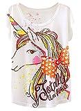 Futurino Women's Summer Colorful Bow Tie Unicorn Print Short Sleeve T-shirt Tops (M, White),Medium,White,Medium