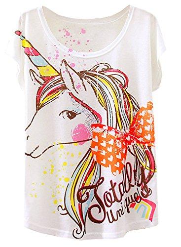 Futurino Women's Summer Colorful Bow Tie Unicorn Print Short Sleeve T-shirt Tops (M, White),Medium,White,Medium -