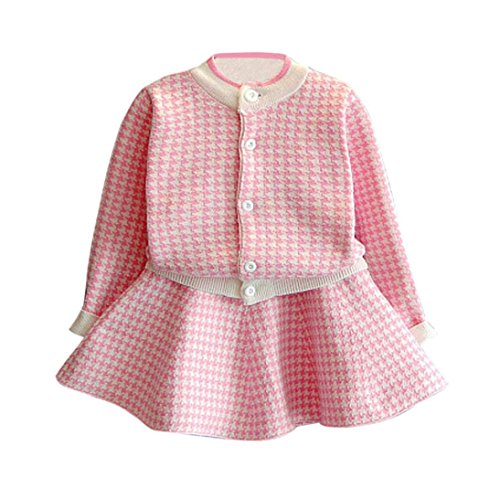 Jarsh Toddler Baby Girl Plaid Knitted Long Sleeve Sweater Coat Tops With Button +Skirt Set (Pink, 2-3Years (Pink Plaid Skirt Outfit)