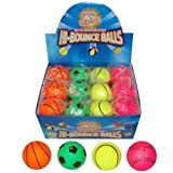 Assorted Sports Pattern Hard Sponge Rubber Hi-Bounce Balls - Pack Of 12 - REFERENCE PBF149