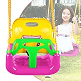 3-in-1 Secure Swing Seats High Back Infant Toddler Children Playground Swing Set Accessories Replacement with Hooks (Pink)