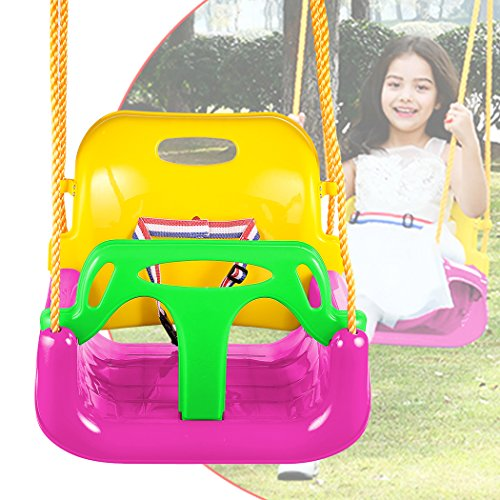 3-in-1 Secure Swing Seats High Back Infant Toddler Children Playground Swing Set with Hooks (Pink 2)