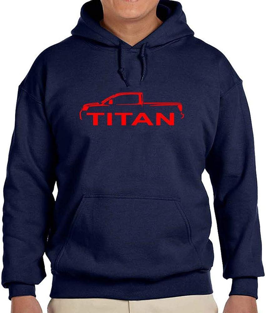 Nissan Titan Pickup Truck Classic Red Color Outline Design Hoodie Sweatshirt